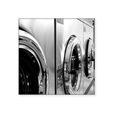 """Laundromat Washer Black and Square Sticker 3"""" x 3"""""""