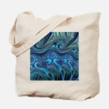 Fractal Blue Green Swirls Blanket Tote Bag