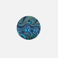 Fractal Blue Green Swirls Blanket Mini Button