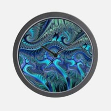 Fractal Blue Green Swirls Blanket Wall Clock