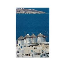 Windmills in Mykonos Rectangle Magnet