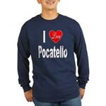 I Love Pocatello (Front) Long Sleeve Dark T-Shirt