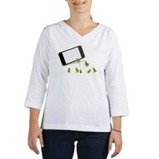 Green frogs and smart phone Women's Long Sleeve Shirt (3/4 Sleeve)