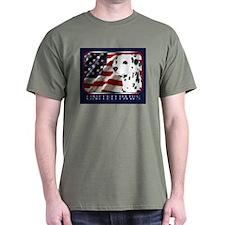 Dalmatian US Flag Patriotic Dark Colored T-Shirt