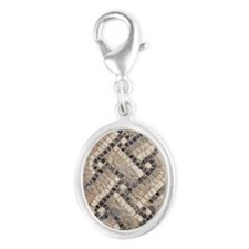 Ancient Mosaic Silver Oval Charm