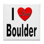 I Love Boulder Tile Coaster