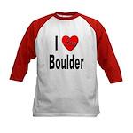 I Love Boulder (Front) Kids Baseball Jersey