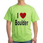 I Love Boulder (Front) Green T-Shirt