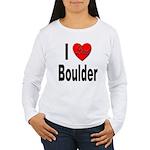 I Love Boulder (Front) Women's Long Sleeve T-Shirt
