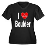 I Love Boulder (Front) Women's Plus Size V-Neck Da