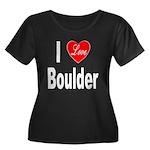 I Love Boulder (Front) Women's Plus Size Scoop Nec
