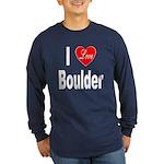 I Love Boulder (Front) Long Sleeve Dark T-Shirt