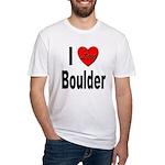 I Love Boulder (Front) Fitted T-Shirt