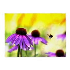 Flowers with Bumble Bee flight 5'x7'Area Rug