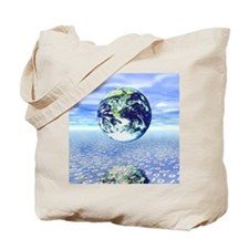 Earth floating over a sea of numbers Tote Bag