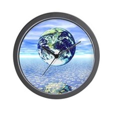 Earth floating over a sea of numbers Wall Clock