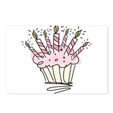 Cupcake with Birthday candles Postcards (Package o
