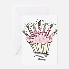 Cupcake with Birthday candles Greeting Cards
