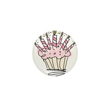 Cupcake with Birthday candles Mini Button