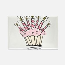 Cupcake with Birthday candles Magnets