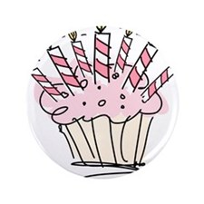 """Cupcake with Birthday candles 3.5"""" Button"""