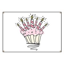 Cupcake with Birthday candles Banner
