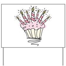 Cupcake with Birthday candles Yard Sign