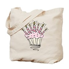 Cupcake with Birthday candles Tote Bag