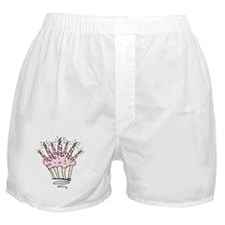 Cupcake with Birthday candles Boxer Shorts
