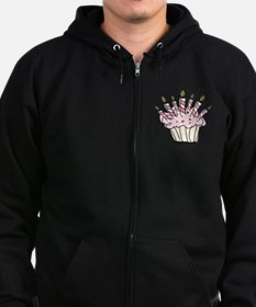 Cupcake with Birthday candles Zip Hoodie