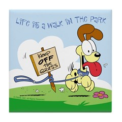 Odie walk in the Park Tile Coaster