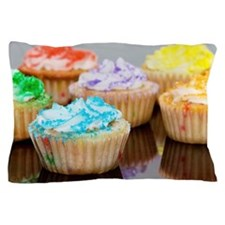 Cupcakes Decorated With Various Colore Pillow Case