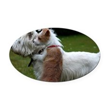 Westie and Portuguese Podengo Dogs Oval Car Magnet