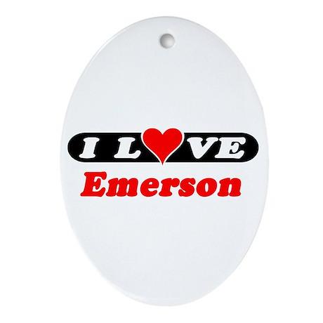 I Love Emerson Oval Ornament