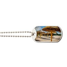 Beach umbrellas of palm fronds Dog Tags