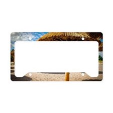 Beach umbrellas of palm frond License Plate Holder