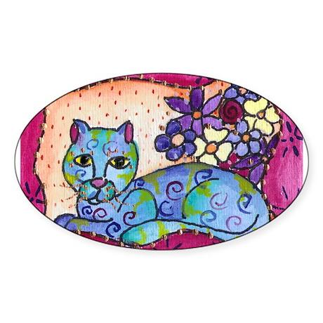 Blue Tabby Cat Oval Sticker