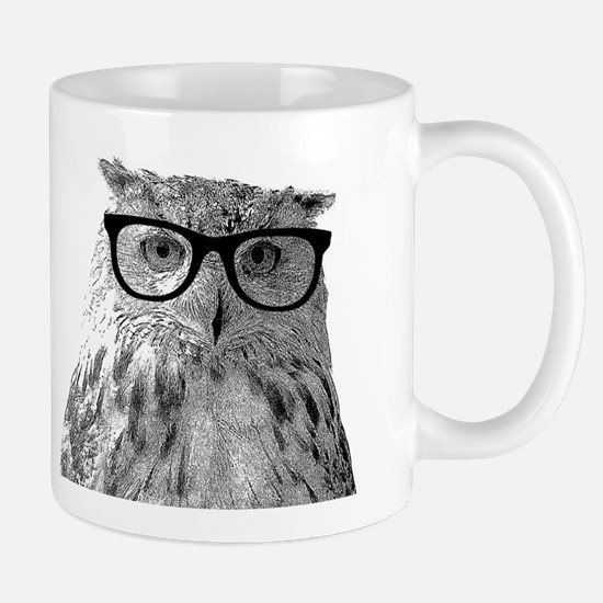 Funny owl with glasses Mugs