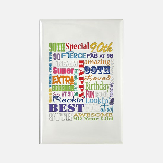 90th Birthday Typography Rectangle Magnet