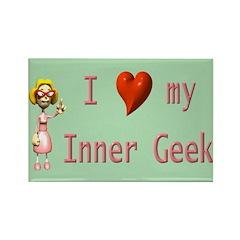 Inner Geek Girl Rectangle Magnet