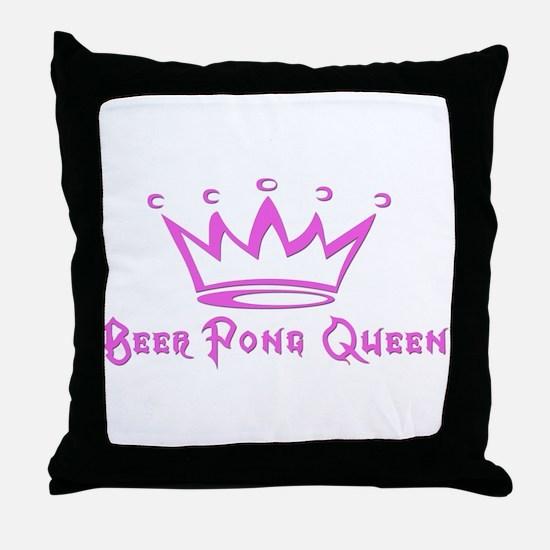 Beer Pong Queen Throw Pillow
