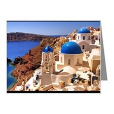 Blue roof churches in Santor Note Cards (Pk of 10)