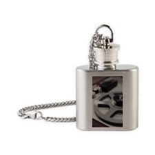 Tape recorder in recording studio,  Flask Necklace