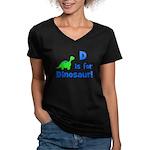 D is for Dinosaur! Women's V-Neck Dark T-Shirt