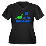 D is for Dinosaur! Women's Plus Size V-Neck Dark T