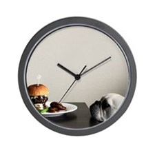 Hamburger and dog Wall Clock