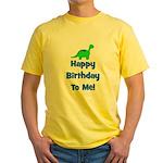 Happy Birthday To Me! Dinosau Yellow T-Shirt