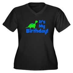 It's My Birthday! Dinosaur Women's Plus Size V-Nec