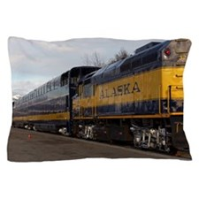 Train at the Anchrorage train station Pillow Case