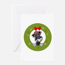 Black Silver Schnauzer Christmas Greeting Cards (P